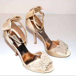 Badgley Mischka Lelah Satin Cream Ruffle Heels